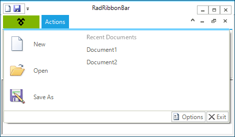 UI for WinForms RibbonBar Application Menu