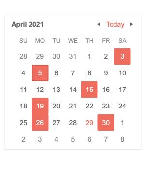 Angular Calendar Component - Multiple Date Selection