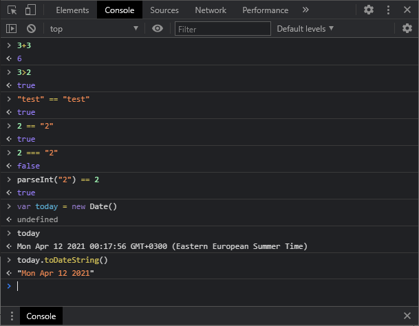 Test JavaScript Code in the Console
