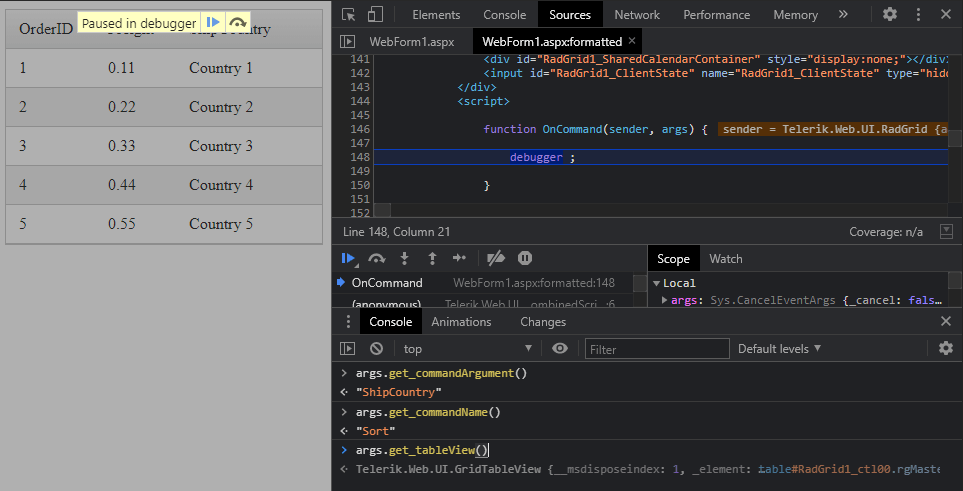 Debugger - OnCommand Sort. A message says 'Paused in debugger'