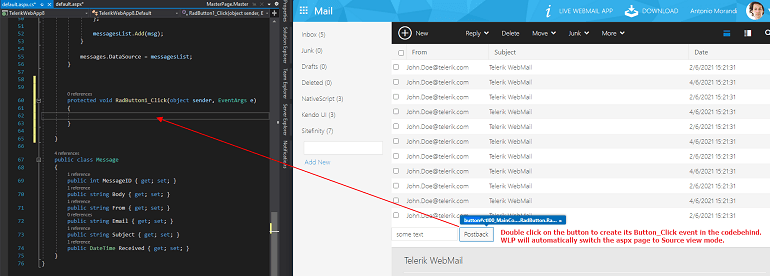 Web Live Preview Create Server Event. Overlay text says, 'Double-click on the button to create its Button_Click event in the codebehind. WLP will automatically switch the aspx page to Source view mode.'