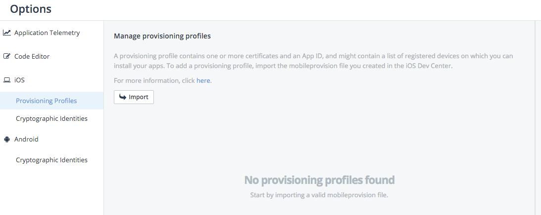appbuilder import provisioning profile
