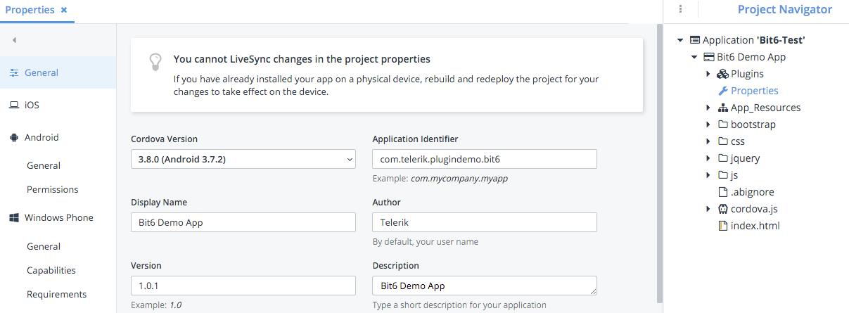 appbuilder project properties
