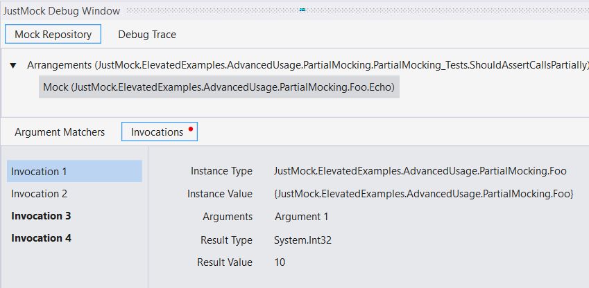 DebugWindow Notifications. Invocations tab shows Invocation 1, Invocation 2, and bold Invocations 3 and 4. The tab also has a red dot on it.