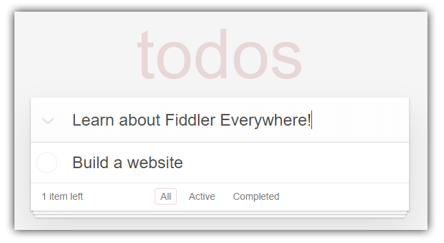 todomvc with fiddler everywhere