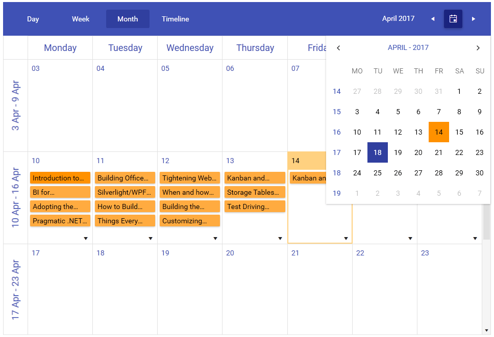 RadScheduleView in Material theme