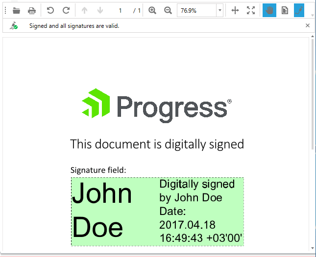 Telerik UI for WPF - RadPdfViewer - digital signature