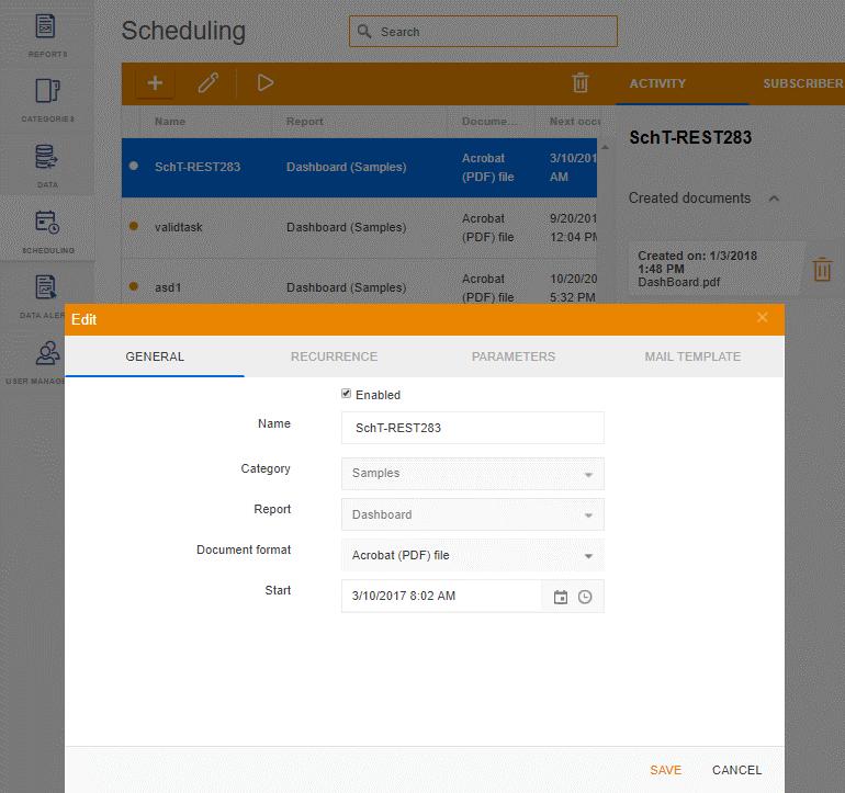 Telerik Report Server Report Scheduling