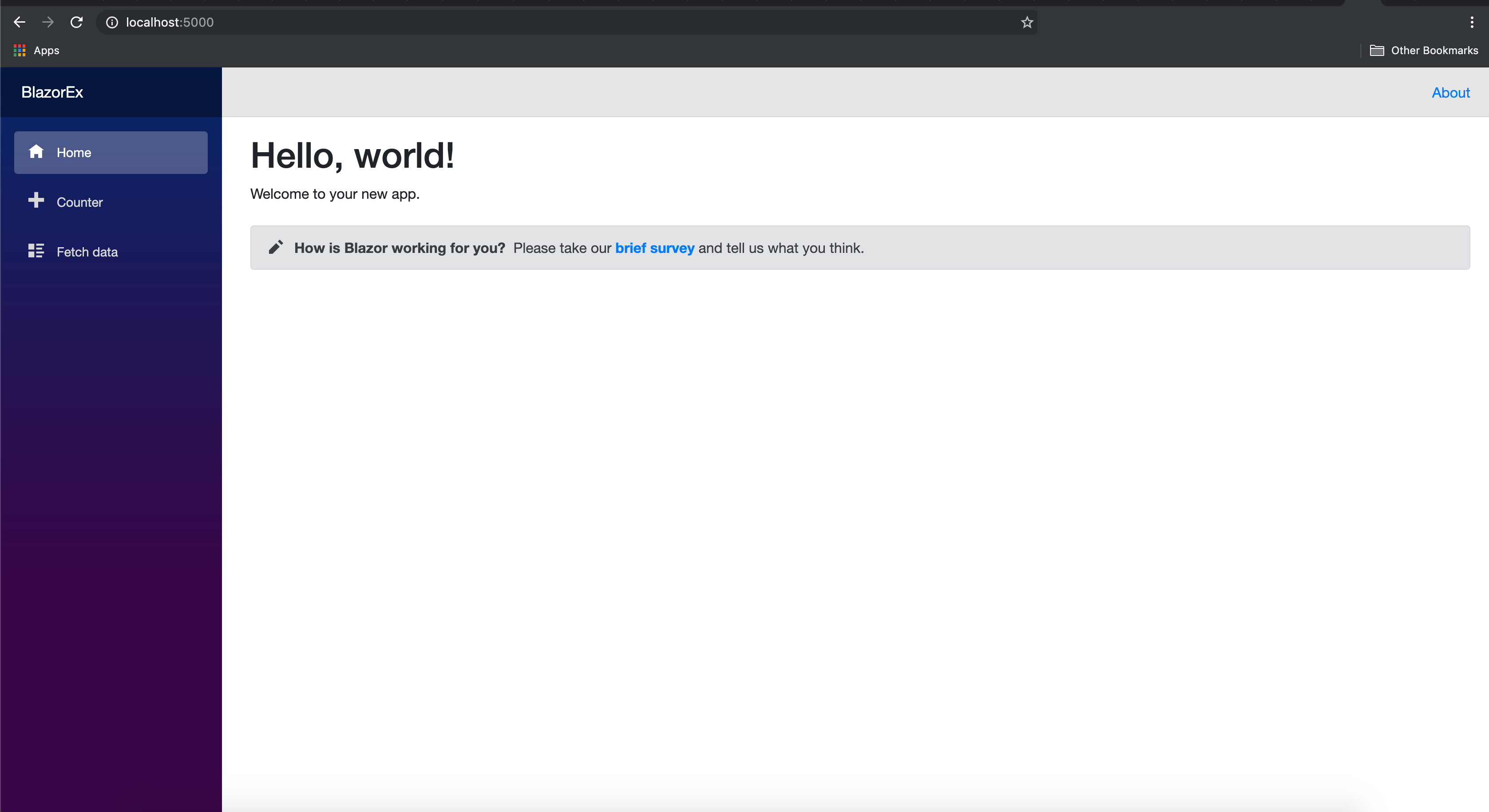 Homepage of Blazor Application