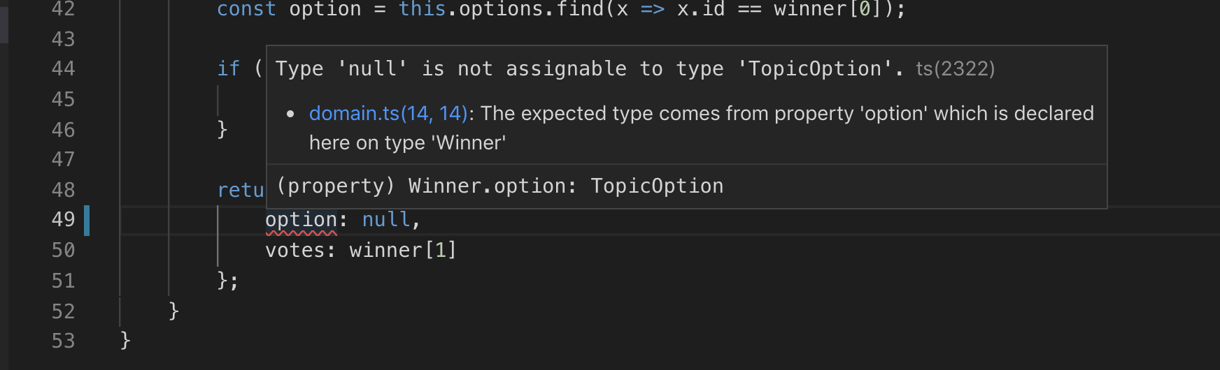 Visual Studio Code: error for assigning null to option