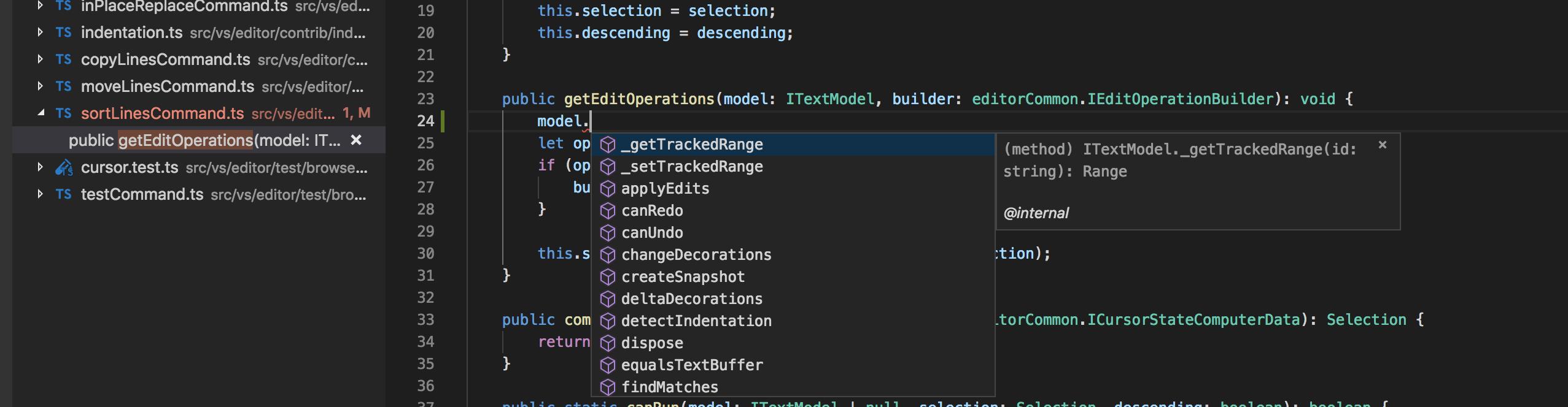 Visual Studio Code: public getEditOperations