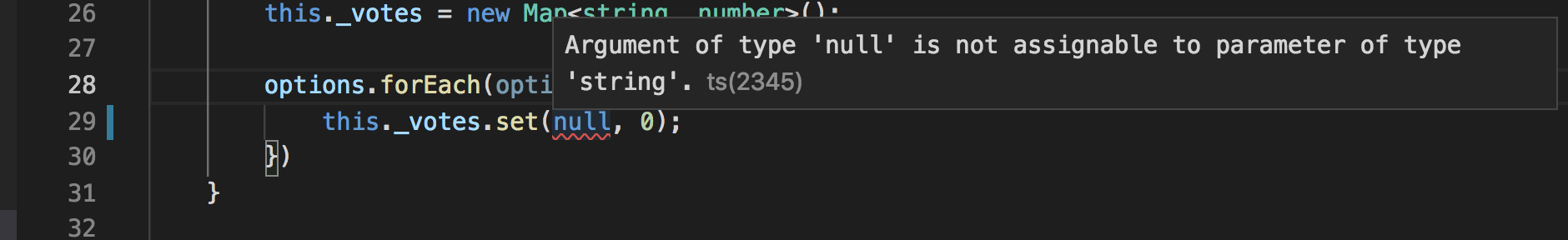 Visual Studio Code: unable to pass null or undefined as a parameter to a method which accepts a string