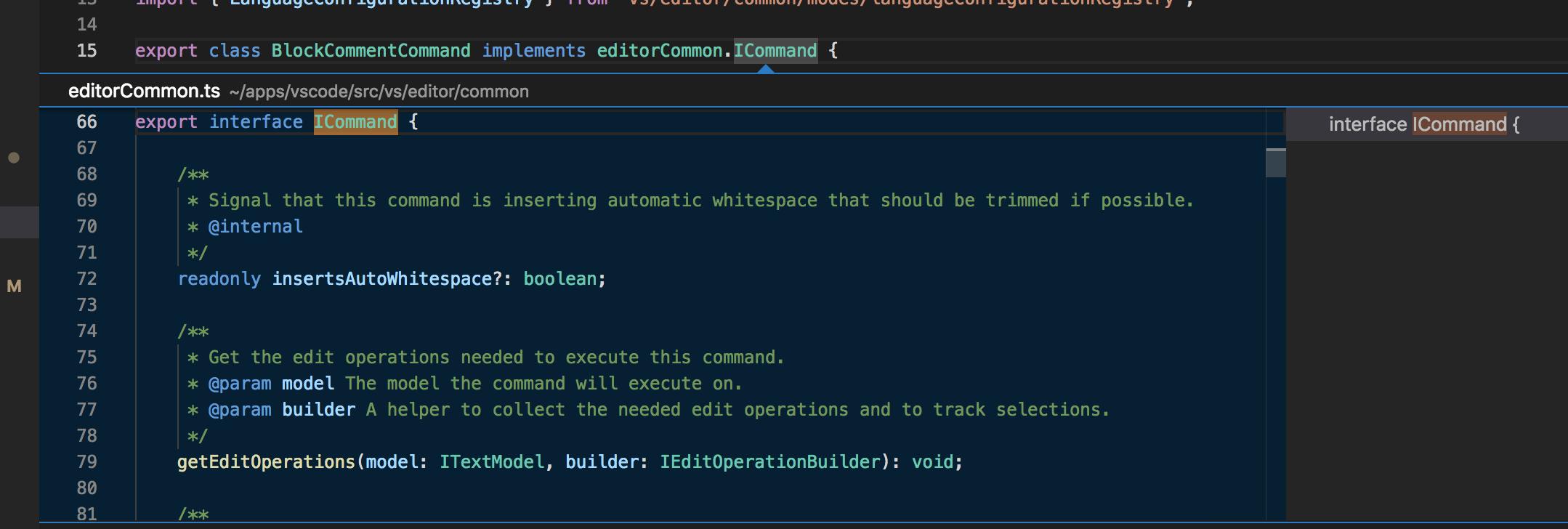 Visual Studio Code: Peek Definition Interface