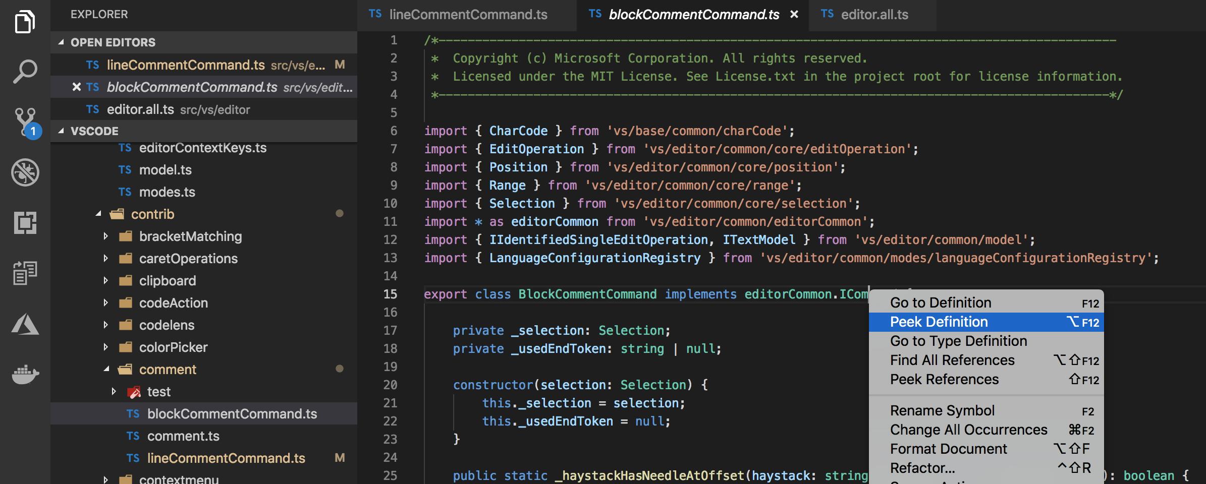 Visual Studio Code: Peek Definition