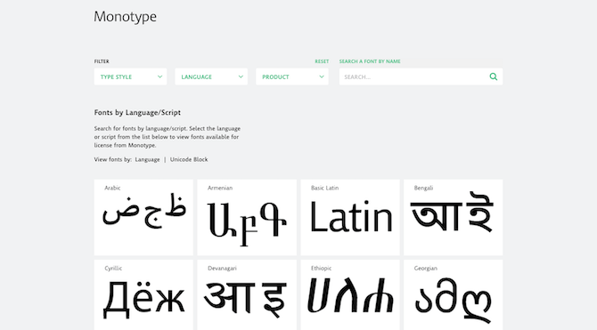 Monotype typography search by language