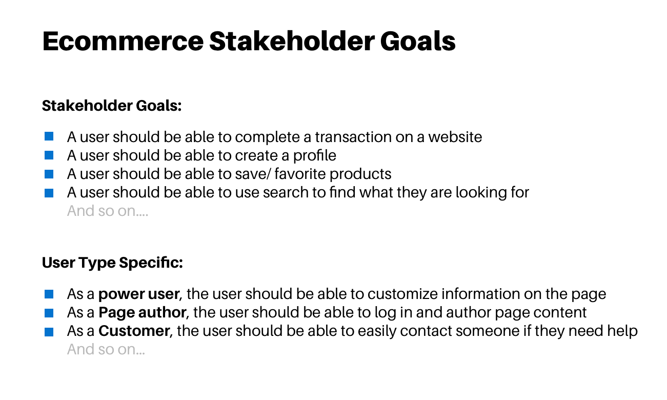 a list of stakeholder goals
