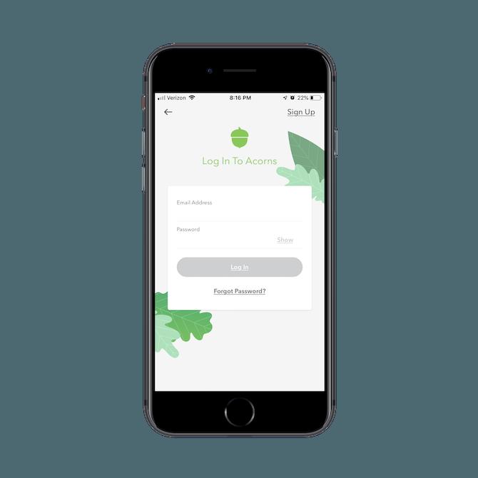 Acorns mobile app login screen