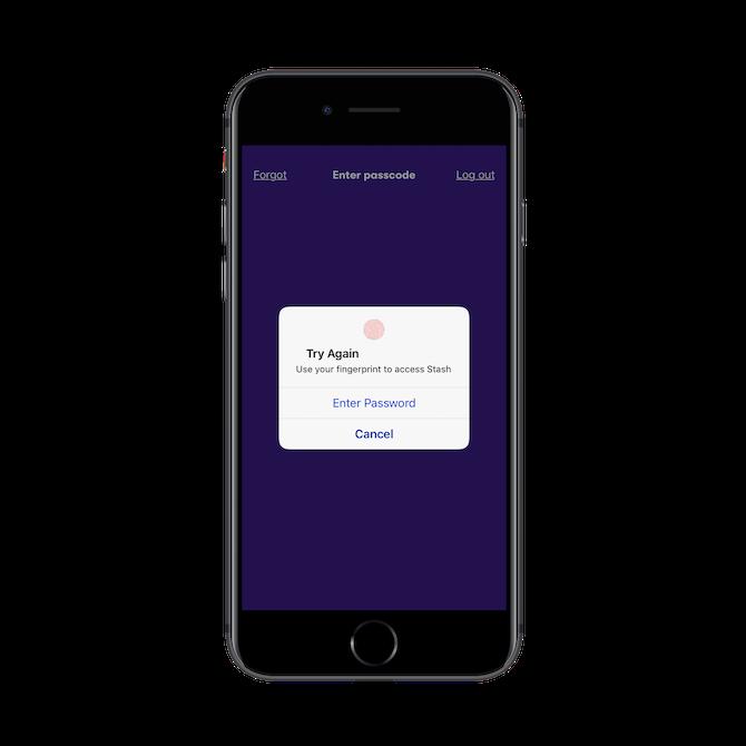 Stash login with fingerprint confirmation