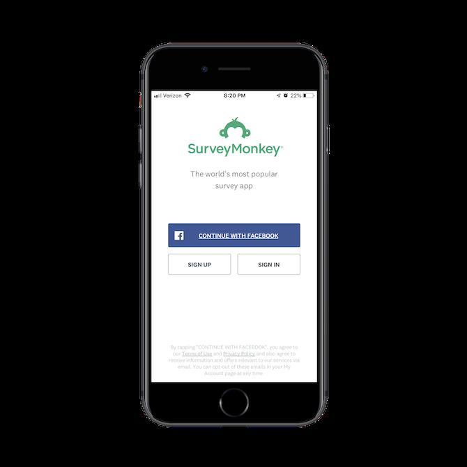 First login screen for SurveyMonkey