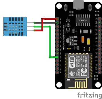 Schematic of the DHT temperature and humidity sensor connected to the NodeMCU