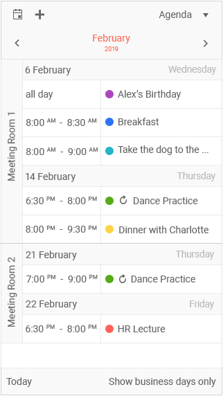 Kendo UI jQuery Scheduler with an agenda view adapted for mobile view ports