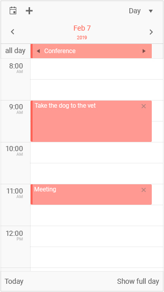 Kendo UI jQuery Scheduler showcasing a day view with an adapted user experience for mobile
