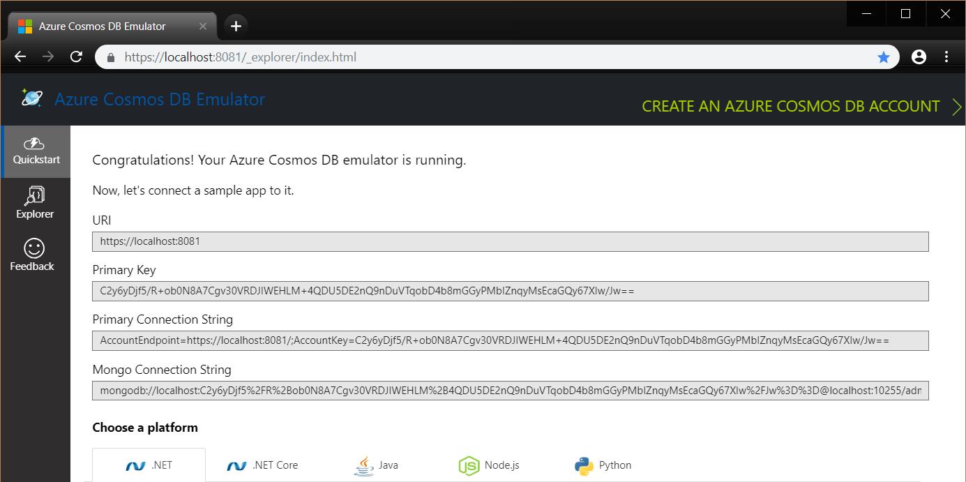 Azure Cosmos DB Emulator