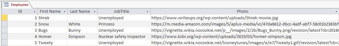 Create Sample Access Database