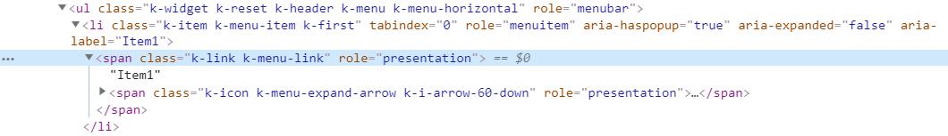 kendoreact menu root html
