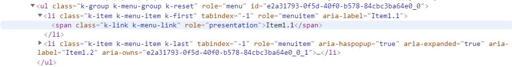 kendoreact menu second level html