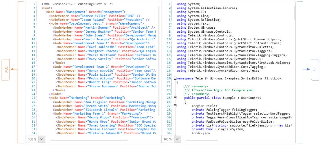 Telerik UI for WPF Syntax Highlighting