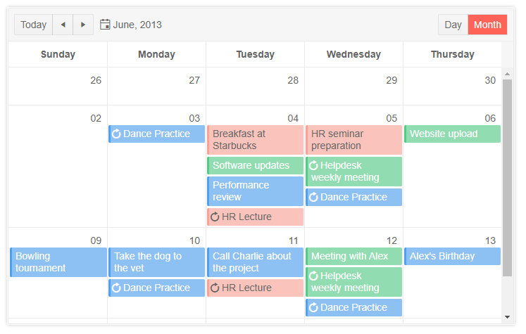 Screen cap showing the Kendo UI Scheduler with events spanning a height that is variable based on the content of each event