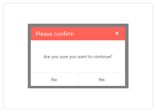 Kendo UI for Vue.js Dialog Component showcasing a confirmation dialog with OK and Cancel buttons