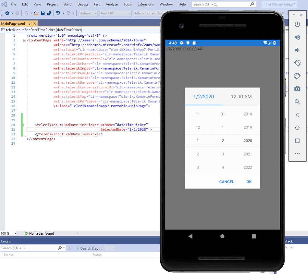 Add Telerik UI for Xamarin RadDateTimePicker