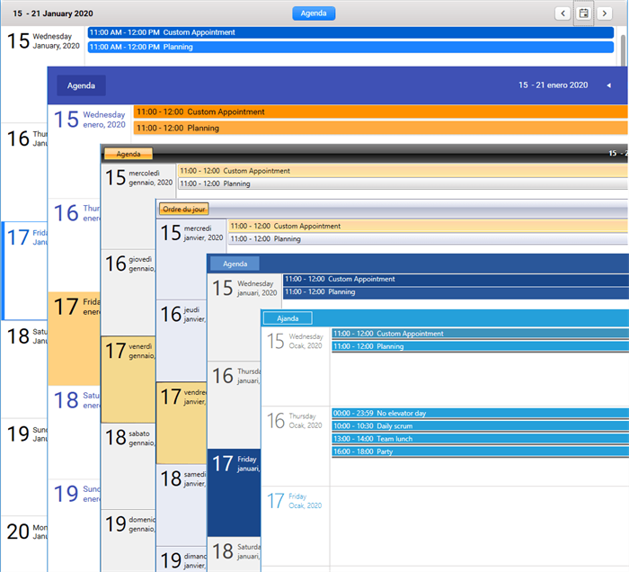 Agenda view localization and themes