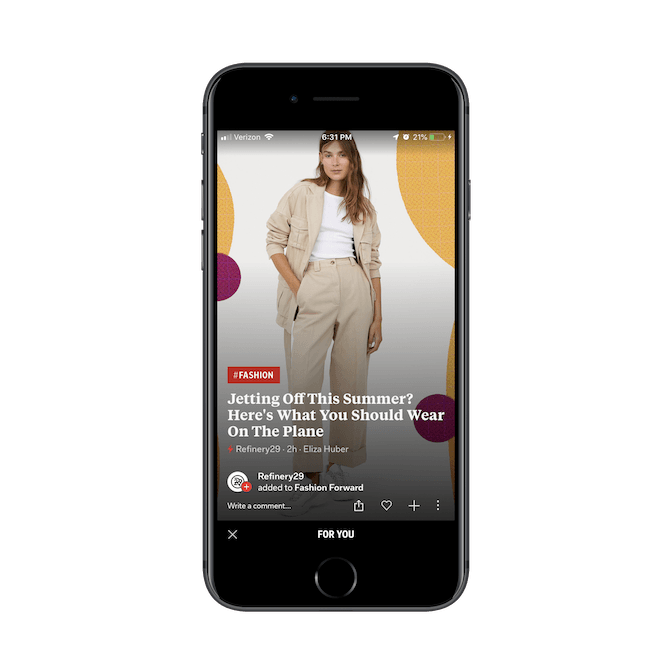 A Flipboard news card