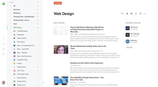 A look inside Feedly and how to aggregate web design news from favorite sources in one place. Users can look at all relevant news at once or read stories from specific web design websites.