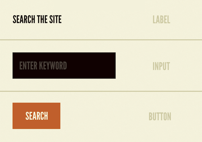 "According to Brad Frost's Atomic Design Methodology, HTML elements serve as the basic building blocks of design. In this example, we see a ""Search the Site"" label, ""Enter Keyword"" input field, and ""Search"" button shape."