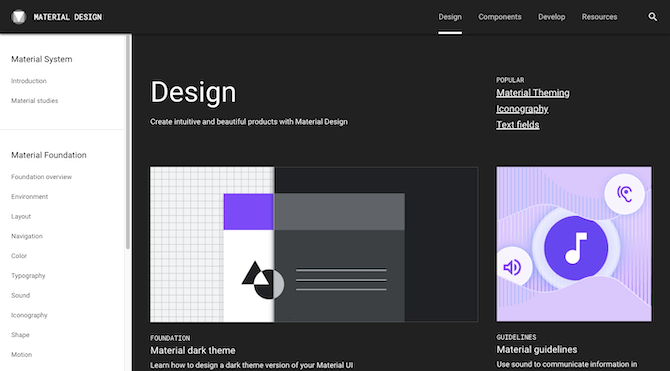 Google has one of the most well-known design systems in Material Design. The website provides reusable components, UI design guidelines, resources, case studies, and more.