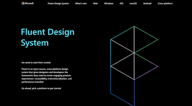 Microsoft's website for its Fluent Design System is an open-source platform, enabling designers to leverage the frameworks and guidelines for devices and systems of all types (not just Microsoft's).