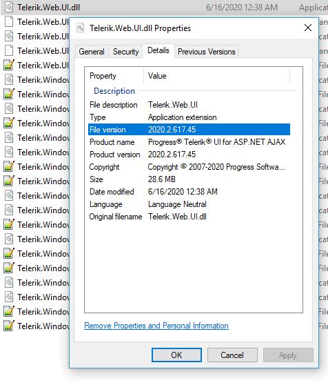 Telerik.Web.UI.dll Properties