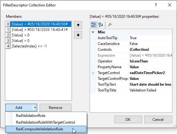 Adding a RadCompositeValidationRule