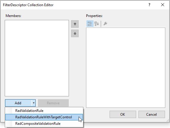 Adding Two RadValidationRuleWithTargetControl Items