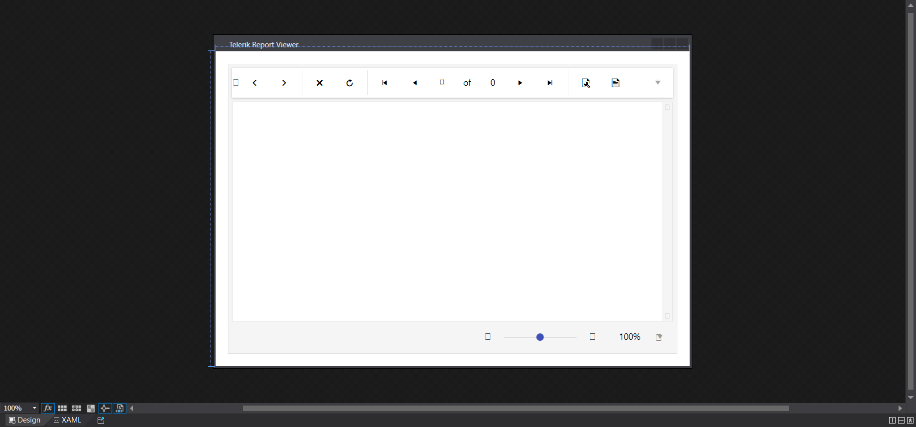 Telerik report viewer design window