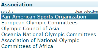 Under Association, the Pan-American Sports Organization is selected.