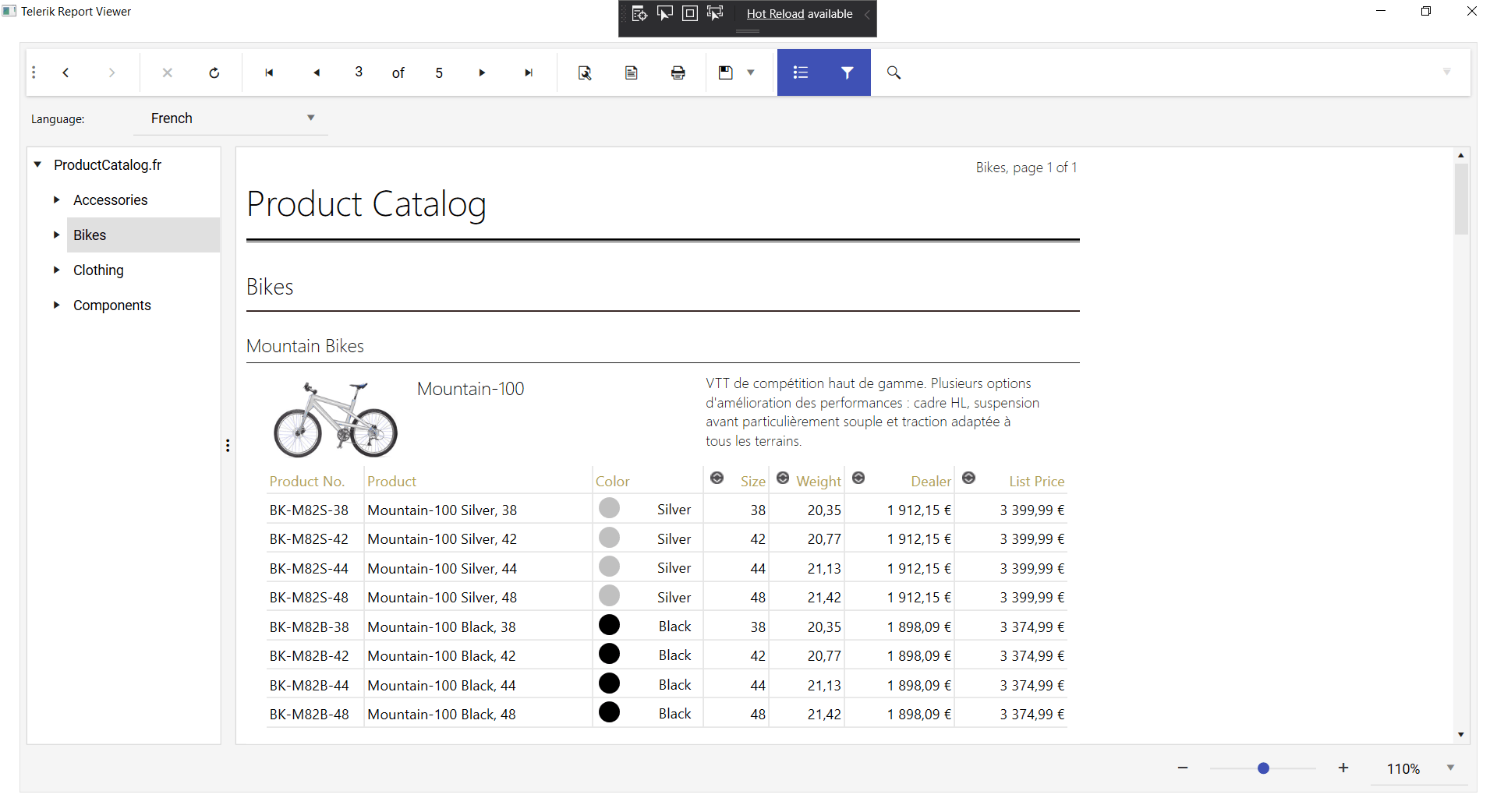 A similar catalog list of bikes, but with descriptions and details styled for French readers instead of English