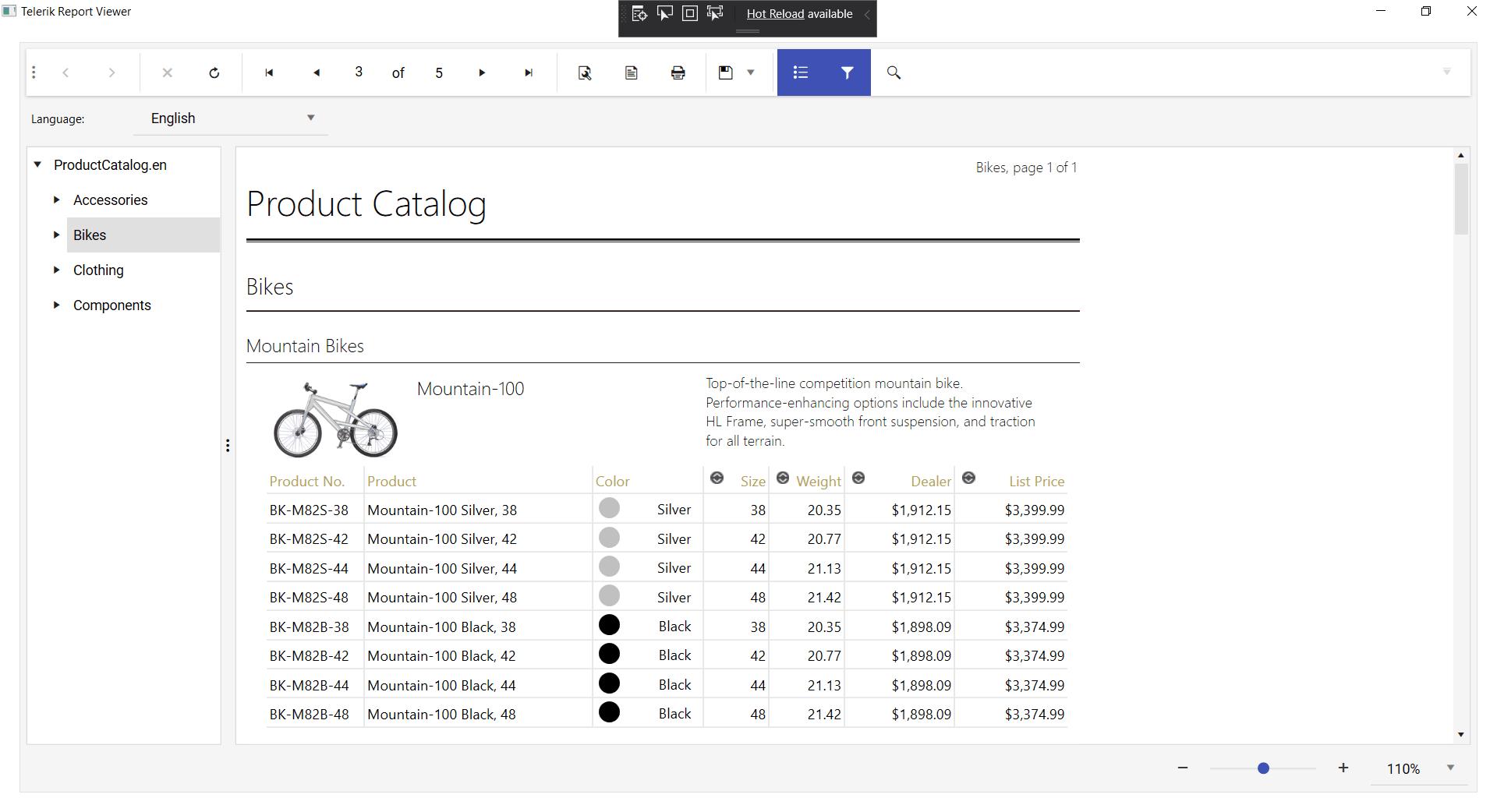 Product catalog of bikes