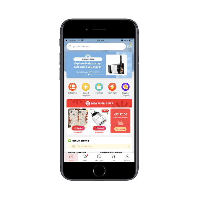 AliExpress home page on mobile app heavily features coupons, freebies, and flash sales.