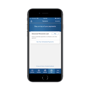 The Discover banking app presents a calm interface with relaxing blue and grey tones, ghost buttons and lots of open space.