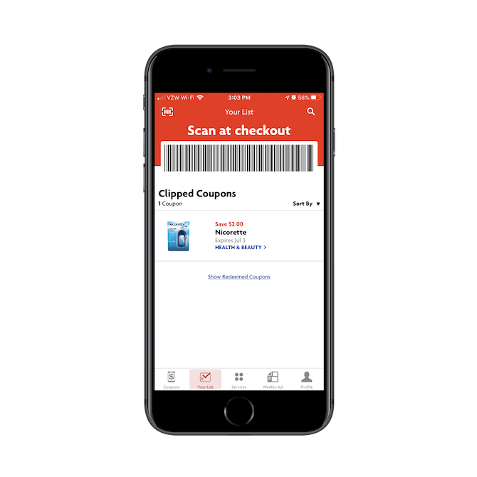 Family Dollar app users show the 'Scan at checkout' barcode to the retail associate to cash in their digital coupons.